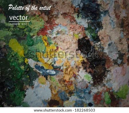 Artistic palette with oils paints. - stock vector