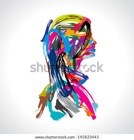 artistic portrait of lady  - stock vector
