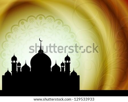 Artistic religious Eid background with mosque. vector illustration - stock vector