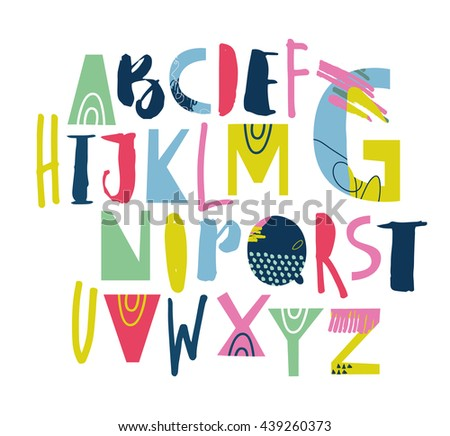Artistic Sketchy ABC for your design. Vector EPS 10. - stock vector