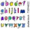 Artistic small alphabet - stock vector