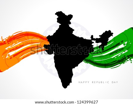 Artistic stylish background design for Indian republic day with Indian map and Asoka wheel. - stock vector
