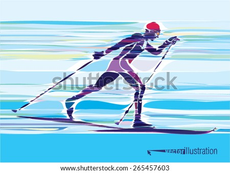 Artistic stylized skier in motion. Vector artwork. - stock vector
