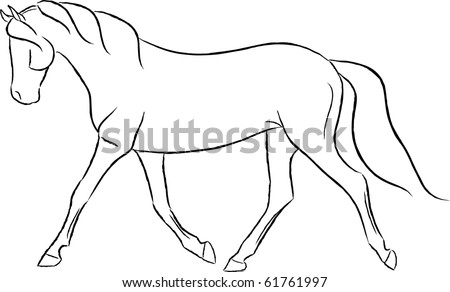 Artistic Trotting Horse Vector