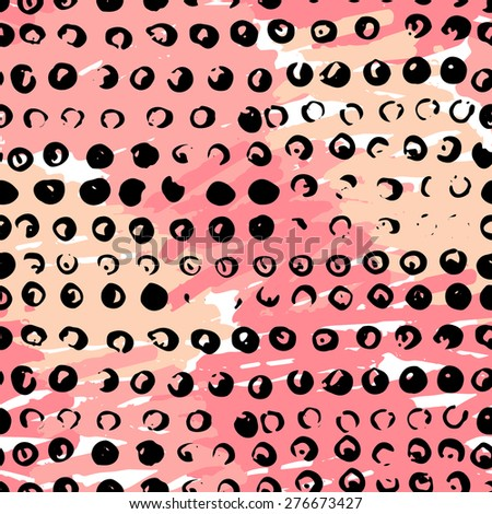 Artistic vector seamless pattern with dots and blots. - stock vector