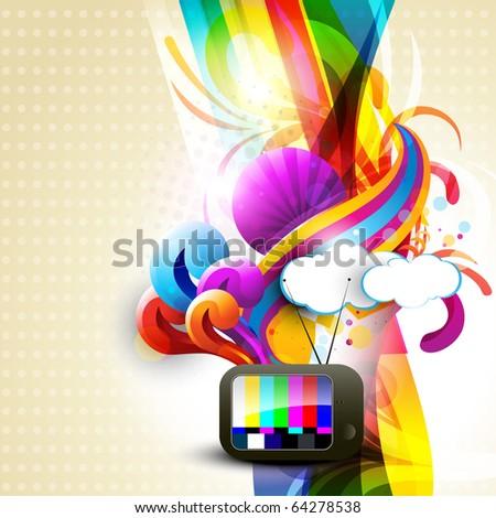 artistic vector tv design illustration - stock vector