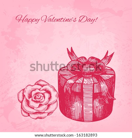 Artistic vector valentine background with ink style hand drawn rose and gift box - stock vector