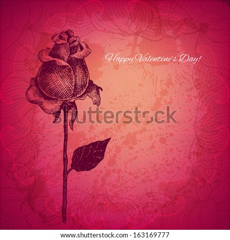 Artistic vector valentine background with ink style hand drawn rose flower - stock vector