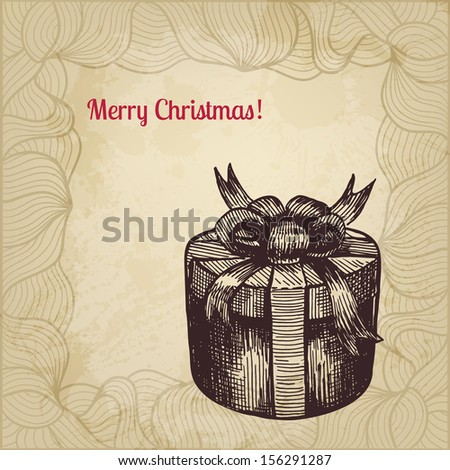 Artistic vintage vector card with hand drawn patterned gift box. - stock vector