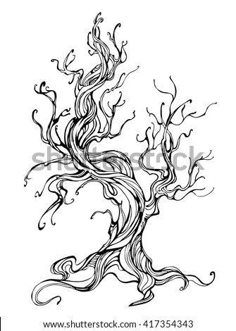 artistically drawn old tree outline on a white background. Tattoo style. Hand drawn. Sketch drawing.