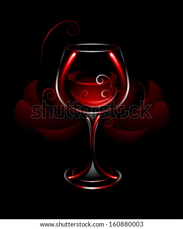 artistically painted, glowing glass with red wine on a black background, decorated with abstract red flower. - stock vector