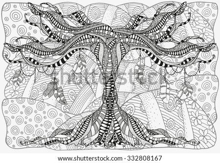Artistically tree and feathers. Zentangle landscape. Sketch by trace. Hand-drawn tribal, ethnic, floral, retro, doodle, vector, tribal design element. Black and white. For coloring book. - stock vector