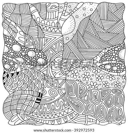 Artistically tree. Zentangle patterns. Sketch by trace. Hand-drawn ethnic, floral, doodle, vector, tribal design element. Black and white. Coloring book for adults and children. Zen art. - stock vector