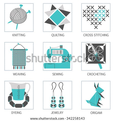 Arts and Crafts vintage icon set. - stock vector