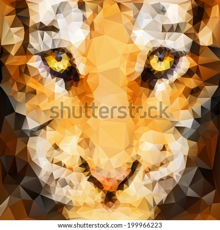 Artwork of tiger cub head from front view - stock vector