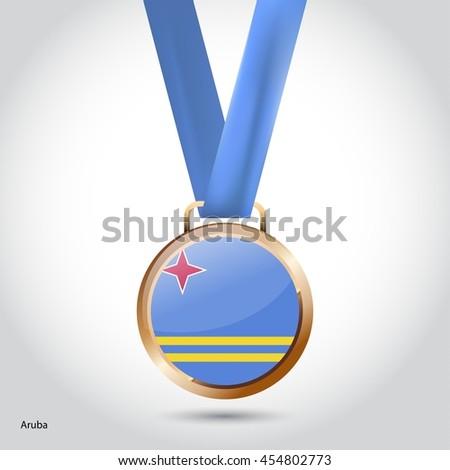 Aruba Flag in Bronze Medal. Olympic Game Bronze Medal. Vector Illustration - stock vector