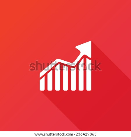 Ascendant bars graphic icon with rising arrow - stock vector