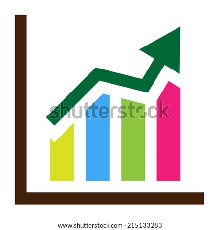Ascending bar graph and arrow showing - stock vector