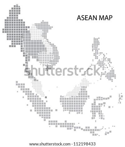 Asean Map, vector - stock vector