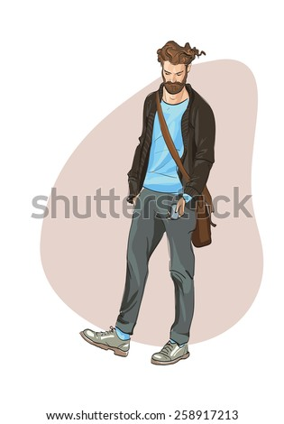 ashionable young man looking phone. freehand drawing vector.Can be used for banners, cards, covers, etc. - stock vector