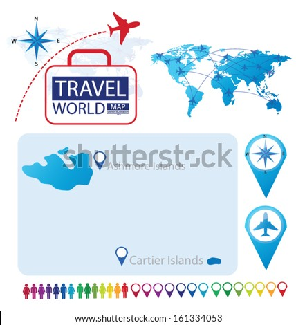 Ashmore and Cartier Islands. World Map. Travel vector Illustration. - stock vector