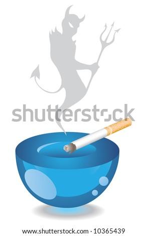 Ashtray and Cigarette - stock vector