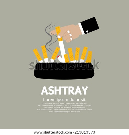 Ashtray With Cigarette Lighted Vector Illustration - stock vector