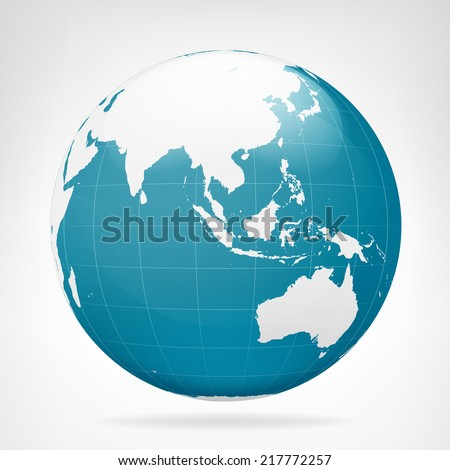 Asia blue earth view isolated vector illustration - stock vector