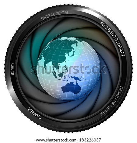Asia earth globe in shutter ready to snapshot isolated vector illustration - stock vector