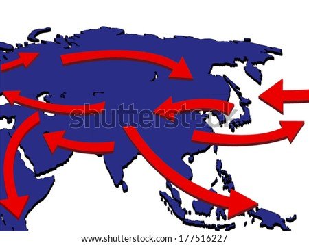 Asia Expansion Market Trade Routes Business Map 3D - stock vector