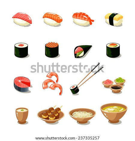 Asia food icon set with sushi rolls sashimi noodle miso isolated vector illustration - stock vector