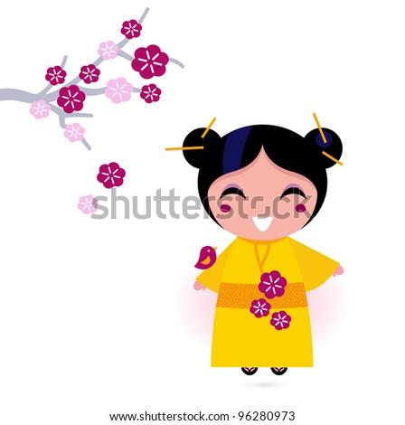 Asia girl in yellow kimono isolated on white - stock vector