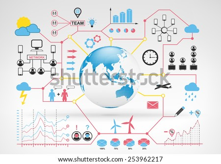 Asia globe map with blue red info graphic icons and graphs around vector background for web and media design collection illustration - stock vector