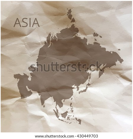 Asia map on paper. Map of the Asia on papyrus. Vector illustration. - stock vector