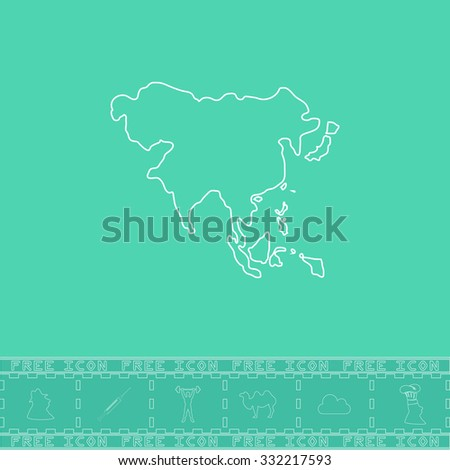 Asia map. White outline flat symbol and bonus icon. Simple vector illustration pictogram on green background - stock vector