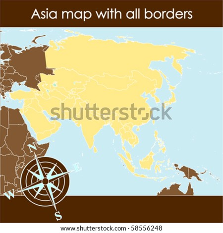 Asia map with compass in sand tones - stock vector