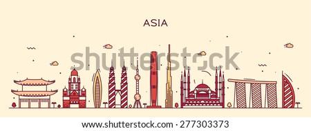 Asia skyline detailed silhouette. Trendy vector illustration, line art style. - stock vector