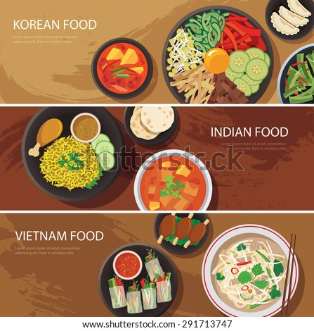 asia street food web banner , korean food , indian food , vietnam food flat design - stock vector