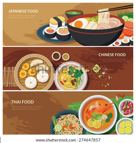 asia street food web banner , thai food , japanese food , chinese food flat design - stock vector