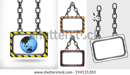 Asia world globe on chain hanged board collection vector illustration - stock vector