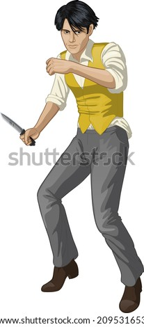 Asian brawling man retro styled cartoon character with colored lineart - stock vector