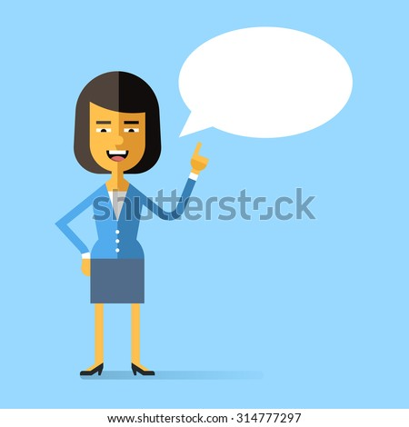Asian business woman in formal suit held up her index finger and gives advice. Attractive successful woman speaking with speech bubble. Stock vector character in flat design. - stock vector