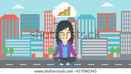 Asian business woman with eyes closed doing yoga. Woman thinking about growth graph and meditating in lotus pose. Vector flat design illustration. Vector flat design illustration. Horizontal layout. - stock vector