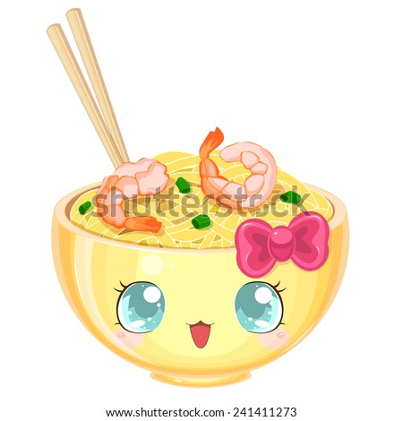 Asian cooking: kawaii udon noodles with shrimp and onions in a yellow bowl - stock vector