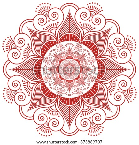 Asian culture inspired  wedding makeup mandala henna tattoo decoration flower shape made out of leaves, hearts in  red and white symbolizing happiness, love and spiritual life , zen , inner peace  - stock vector