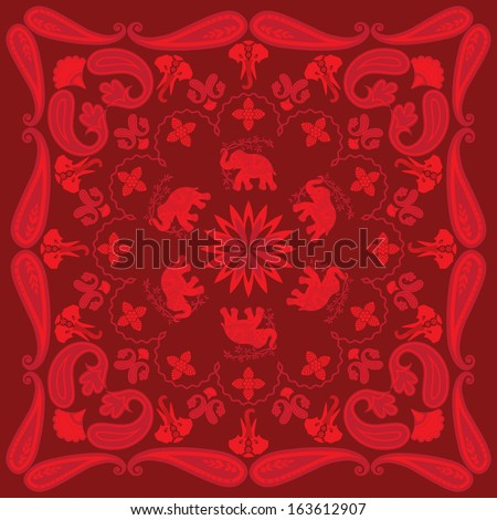 Asian Elephant and Paisley Bandanna Design - stock vector