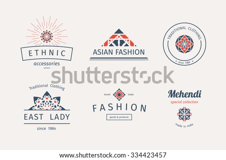 Asian fashion shops logo templates set. Vector ethnic ornamental design for clothing and accessories boutiques. - stock vector