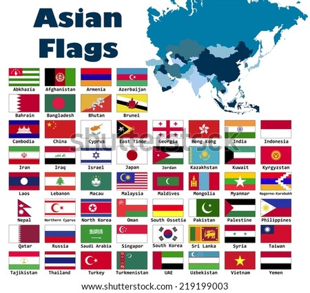 Asian flag set in alphabetical order, with an editable map. - stock vector