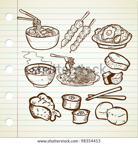 Asian Food Doodle - stock vector