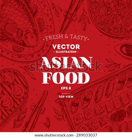 Asian Food Frame. Linear graphic. Vector illustration - stock vector